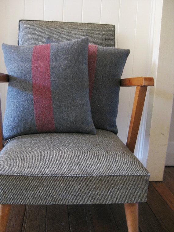 RESERVED. cushion wool blanket rustic grey red stripe - SAMPLE PAIR