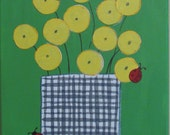 RESERVED-for Megan T.- Lady Bugs and Dandilions- Original Acrylic Painting on Canvas