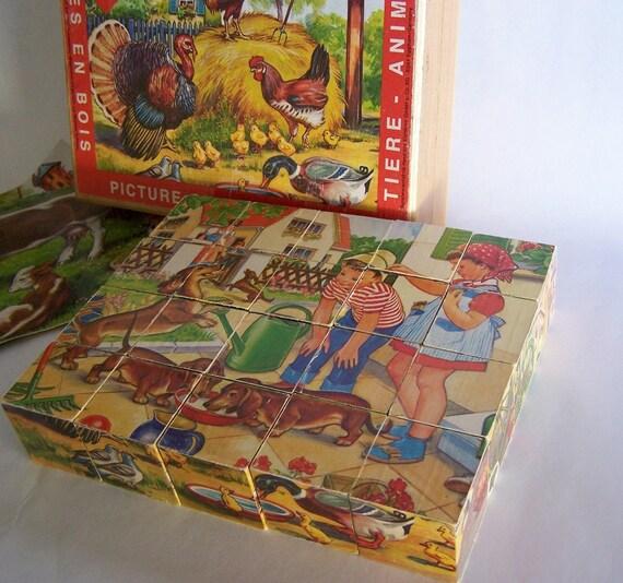 Eichhorn Picture Cubes Of Wood Bilderbaukasten Holzwurfel