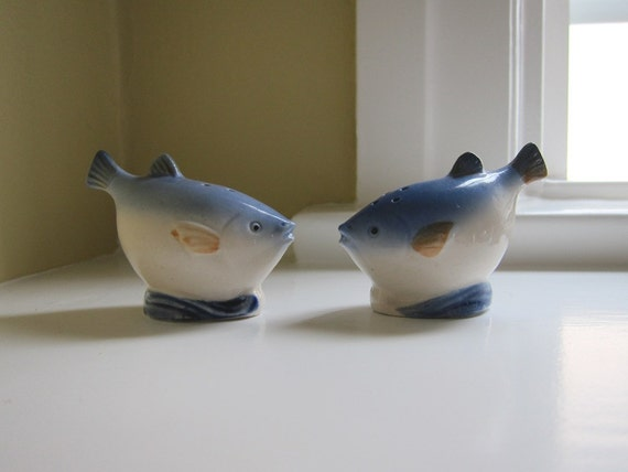 Blue Fish Occupied Japan Salt and Pepper Shakers