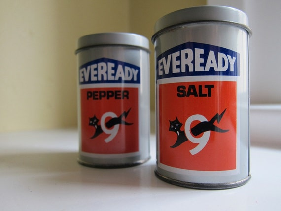 Vintage Eveready Battery Shaped Salt and Pepper Shakers