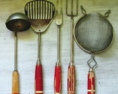 RESERVED: Vintage Red Wooden Utensils, retro kitchen, red wood handles with stripe, collection