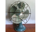 Vintage Electric Fan, oscilating, blue, westinghouse, industrial