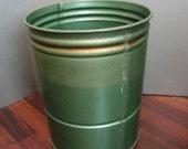 Vintage Metal Bucket, Farm Bucket, sap bucket, green and gold