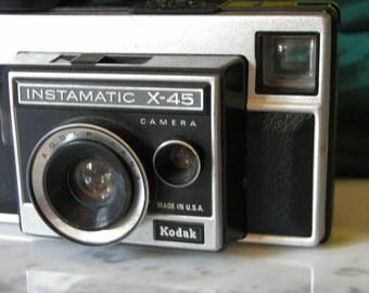 Vintage Kodak Camera with Flash, film, classic, black and silver