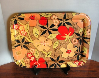 Floral Tray, metal serving tray, vintage tiki