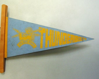 Vintage High School Pennant, blue and yellow school spirit
