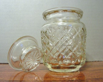 Vintage Quilted Jar, Glass Container