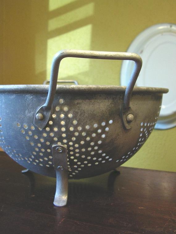 Vintage Metal Strainer, colander, star pattern