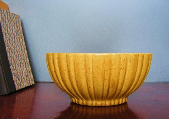 Haeger Yellow Ribbed Ceramic Bowl