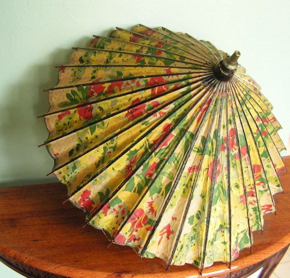 Antique Floral Parasol, parchment, flowers, wood carved handle
