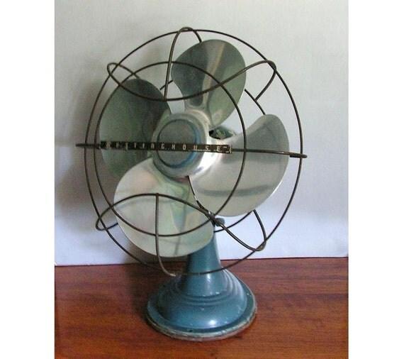 Old Electric Fans : Vintage electric fan oscilating blue westinghouse