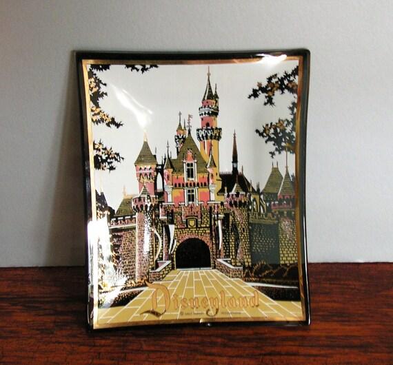 Vintage Disney Souvenir Glass Dish, ashtray, disneyland