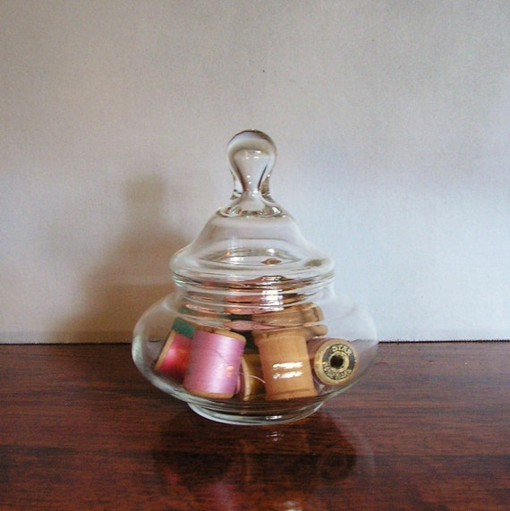 Vintage Glass Jar with Wooden thread spools, apothecary glass