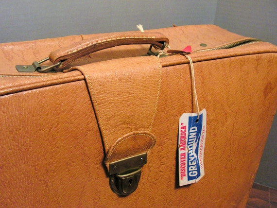 SALE Vintage Tan Leather Suitcase, Luggage with KEY