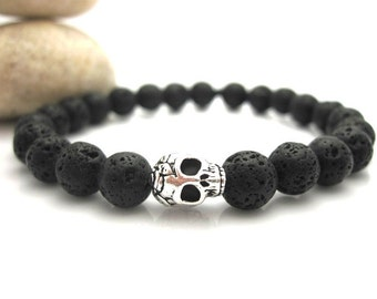 Lava Rock and Silver Rose Skull Energy Bracelet, Skulls, Men, Goth, Stone, Black, Goth Bracelet,