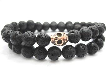 Mens Double Wrap Lava Rock Skull Bracelet, Rock, Stone, Goth, Male, Mans bracelet, Pouch, Volcano, Stone Bracelet,