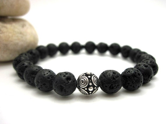 Black Lava Rock and Silver Scroll Bead Energy Bracelet