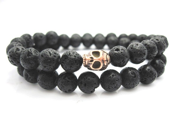 Mens Double Wrap Lava Rock Skull Bracelet, Rock, Stone, Goth, Male, Mans bracelet, Pouch,