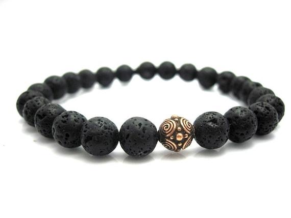 Mens Lava Rock & Copper Bead Bracelet