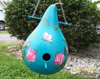 Desert Turquoise   & Trumpet Flowers Gourd Birdhouse