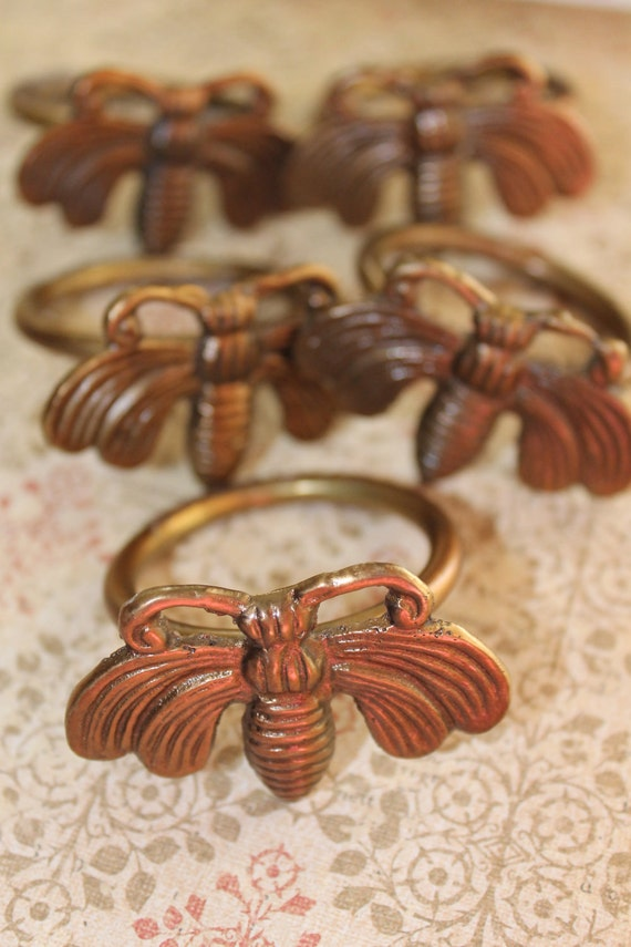 Brass bumble bee napkin rings