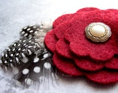 deep red flower clip with feathers