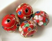 Four (4) Round Red Cloisonne Floral Beads