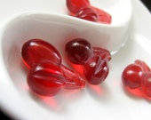 Four (4) Bright Red Lucite Cherry Charms