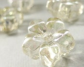 Three (3) 18mm Floral Clear Lucite Buttons