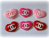 6 pieces  Kawaii Decoden Designer Flat Back Cabochon Set - Chanel CC Logo Hearts Pink & Red
