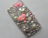 SALE Chanel Inspired Sony Ericsson Xperia x10 Designer Phone Case   Pink & White