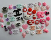 50 pieces Mixed  Kawaii Designer Flat Back Cabochons - Hello Kitty / Cupcake / Lollipop / Louis Vuitton / CC / Barbie / Hearts