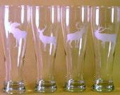 Hand Etched Big Game Hunters Trophy Beer Glasses