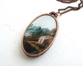 Rural Home Necklace in Antiqued Copper