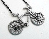 Antiqued Silver Necklace - Bicycle Pendant - Rhinestone - The Biker