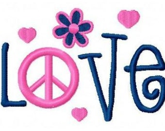 Love peace machine embroidery design