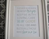 Instant Download: Digital 8x10 print bedtime prayer father in heaven hear my prayer