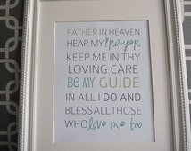 Instant Download: Digital 8x10 print bedtime prayer father in heaven hear my prayer
