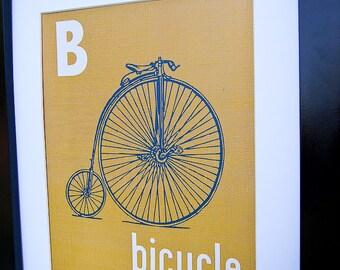 Instant Download - Digital 8x10 nursery print B is for Bicycle Vintage Transportation Print