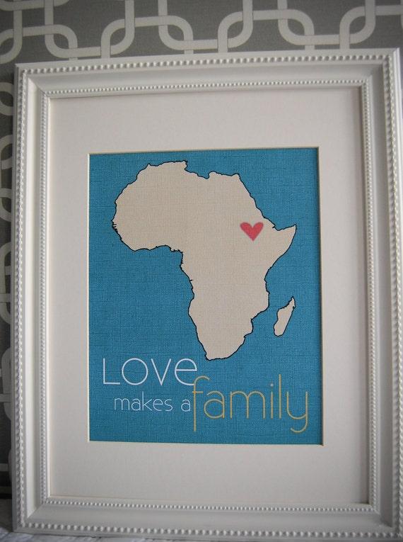 Digital adoption print Love makes a Family 8 x 10 print ANY COUNTRY