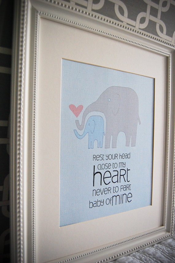 Instant Download: Digital 8x10 nursery print baby mine elephants in blues