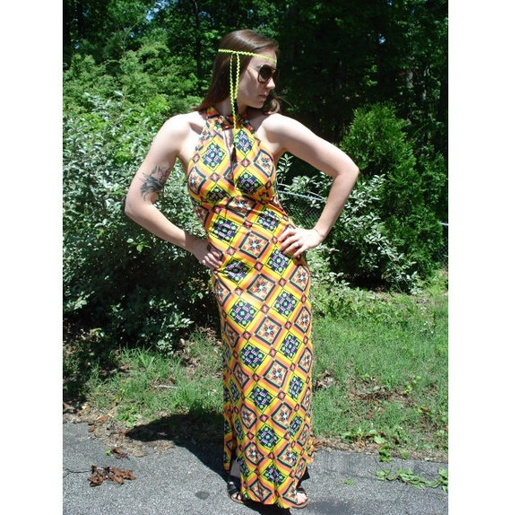 RESERVED ... KALEIDOSCOPE 70s Vintage Geometric Op Art Dayglo Formal Fitted Maxi Dress by Jack Hartley, M