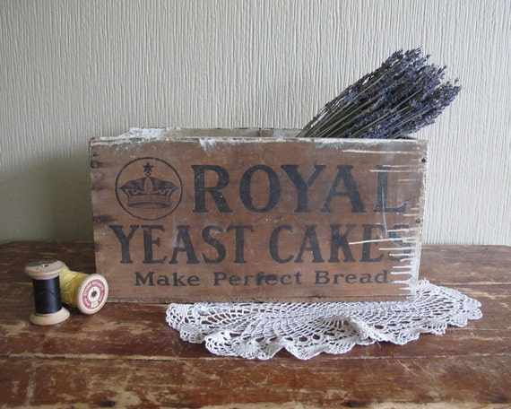 Antique Wooden Advertising Crate, Rustic Home Decor and Storage