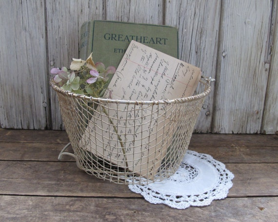Antique Yellow Wire Basket, SALE, Rustic Home Decor and Storage
