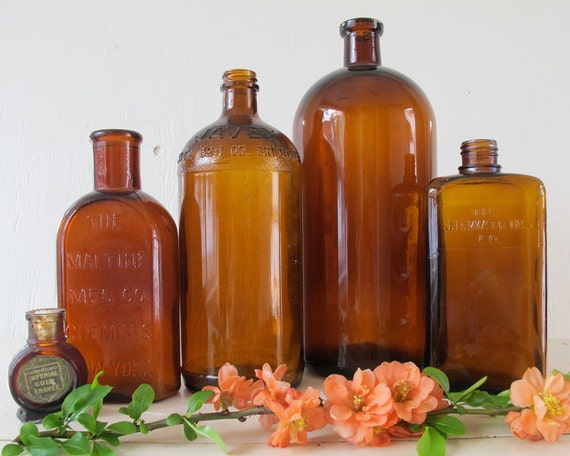 Antique Amber Apothecary Bottle Collection, Rustic Home Decor