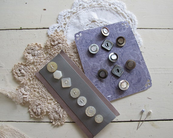 Antique Mother of Pearl Buttons in Shades of White and Grey