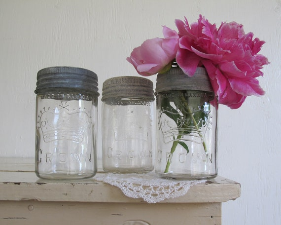 RESERVED /// Antique Crown Canning Jars, Set of Three, Cottage Chic