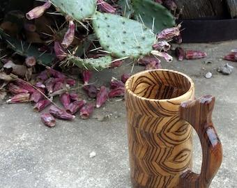 Handcrafted Wood Mug Zebra Wood 12 oz Beer Mug, Stein, Tankard, Wooden Drinking Vessel, Wood Beer Mug, Beer Stein, Wood Mug, Mug