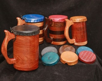Mug - Tankard Leather Lids for Small Beer Mugs, Steins, Wooden Drinking Vessel Lid, Lid for Beer Mug, Leather Lid for Stein